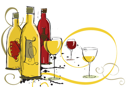 Assorted wines Illustration