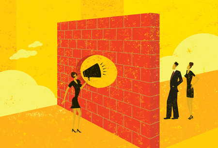 Shouting through a brick wall Illustration