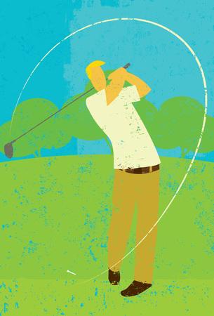 golfer swinging: Golfer teeing off