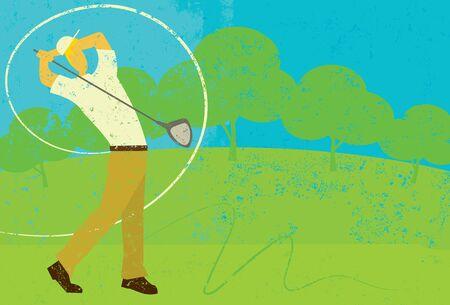 golfer swinging: Golfer Swinging Illustration