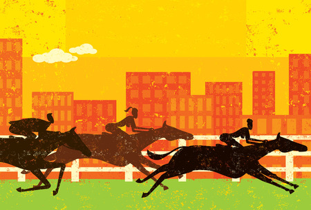 horse racing: Business people horse racing Illustration