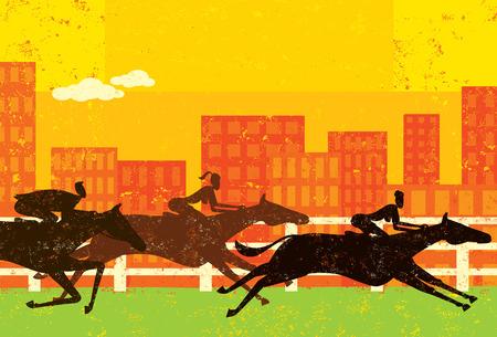 femme a cheval: Les gens d'affaires de courses de chevaux