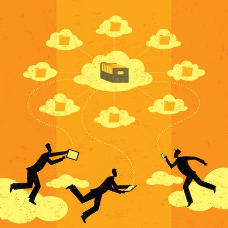 filing cabinet: Cloud computing Illustration