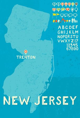 thumb tack: Map of New Jersey with icons Illustration