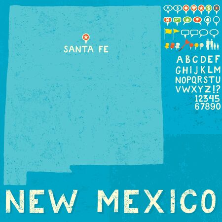 nm: Map of New Mexico with icons Illustration