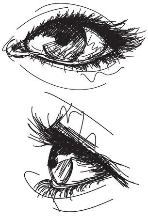 스케치 여성의 눈