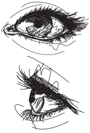human eye: Sketchy female eyes