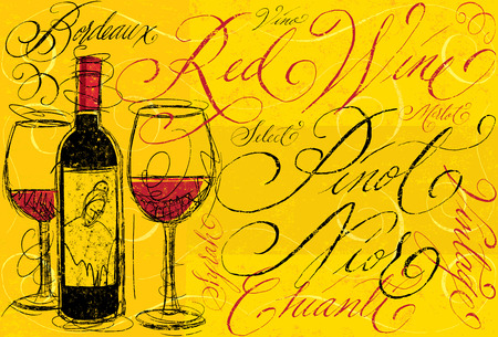 vino: Red wine with calligraphy Illustration