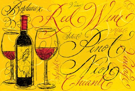 Rode wijn met kalligrafie Stock Illustratie
