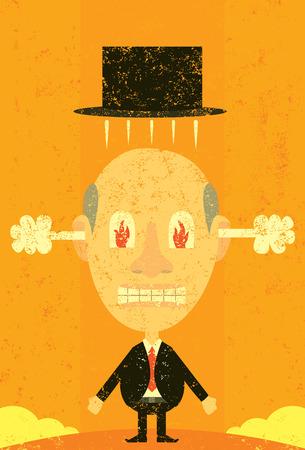 emotional stress: Steaming mad businessman