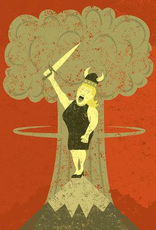 chanteur opéra: Fat Lady chanter à l'apocalypse Illustration