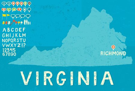 thumb tack: Map of Virginia with icons