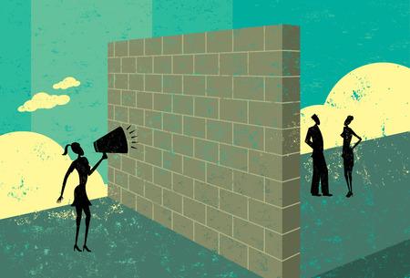Shouting at a brick wall Vectores