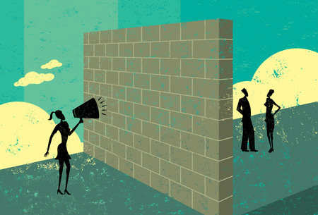 client: Shouting at a brick wall Illustration