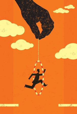 Springen door een hoepel Stock Illustratie