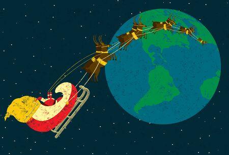 rudolph: Santa delivering gifts Illustration
