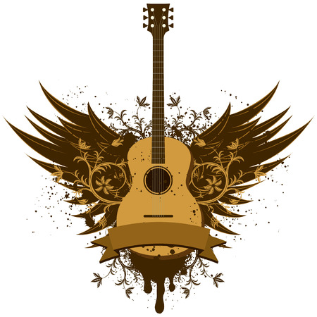 acoustic guitar: Acoustic guitar wings Illustration