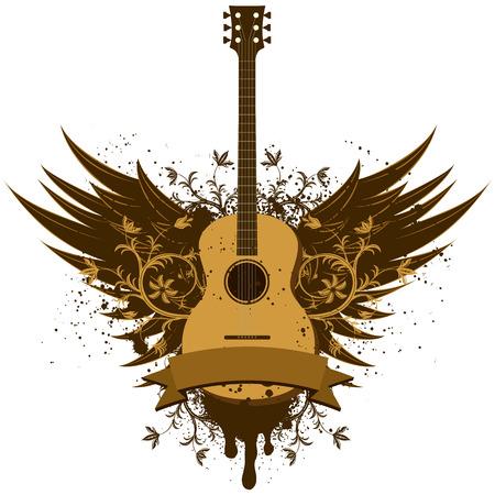 Acoustic guitar wings Vettoriali