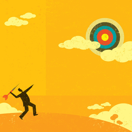achieve goal: Aiming for a high target. Businessman trying to hit a high target with a large dart to achieve his goal. Illustration