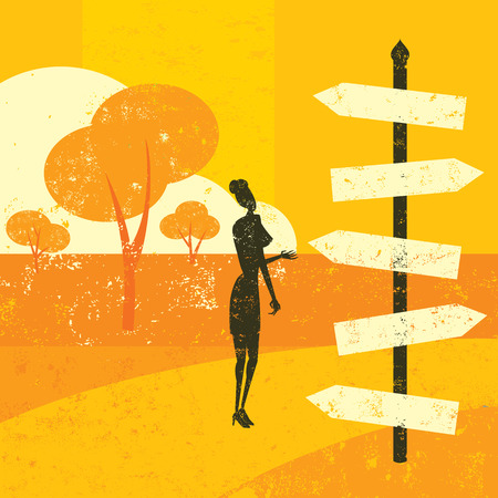 cartoon road: Choosing a destination. A woman looking at a road sign and wondering which way to go.