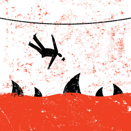 mortalidad: La ca�da de una cuerda floja. Un hombre de negocios retro que cae de la cuerda floja en aguas infestadas de tiburones.