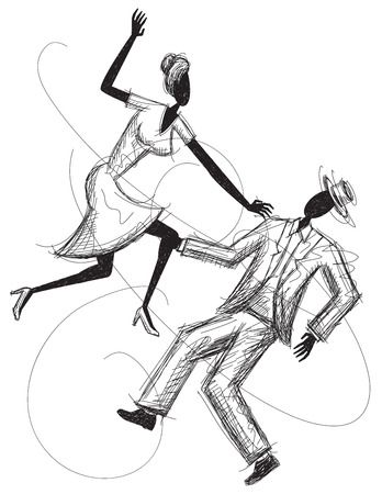 computer dancing: Dancing Couple Illustration