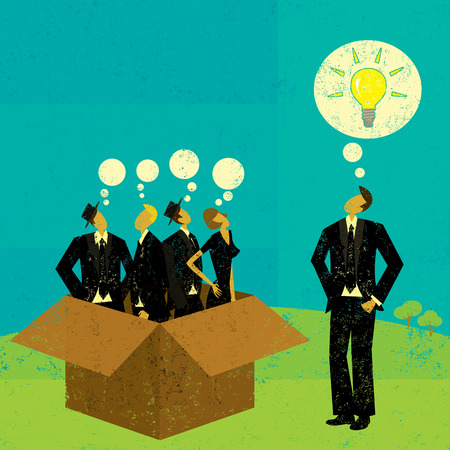 outside-the-box denken Stock Illustratie