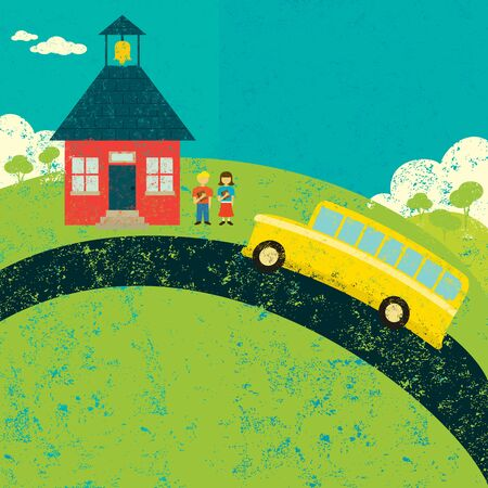after school: Catching the bus after school Illustration