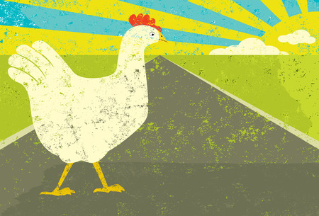 cartoon chicken: Chicken crossing the road