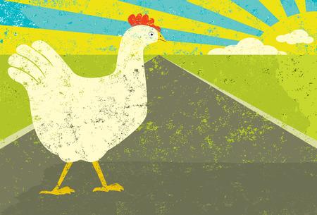 pollo caricatura: Pollo cruzar la calle