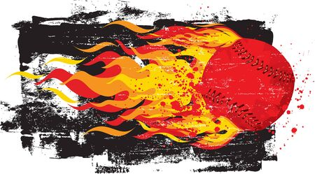 fastball: Flaming Red Fastball Illustration