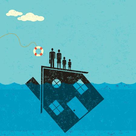 problemas familiares: Submarino Hipoteca Ayuda Vectores