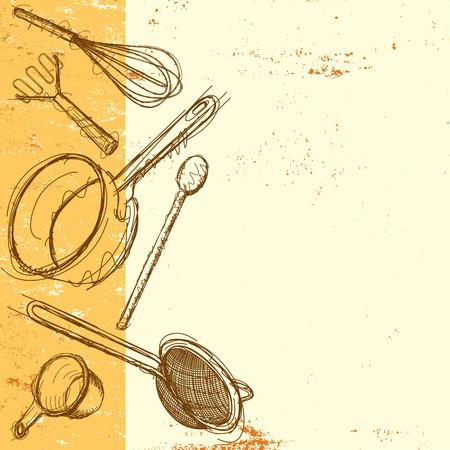 Cooking utensils background Vectores