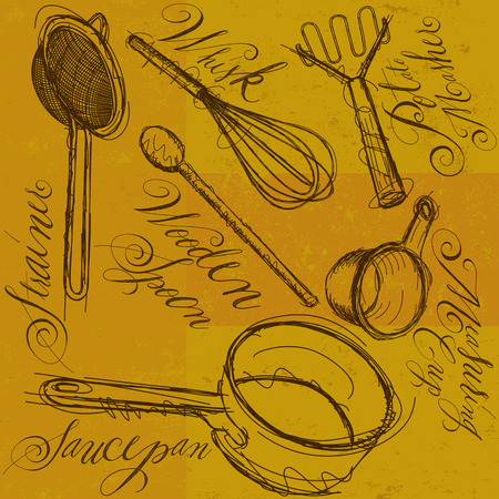 cooking utensils: Cooking Utensils with calligraphy