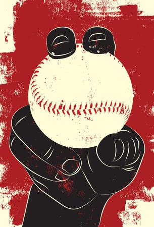 baseball: Béisbol en la mano Vectores