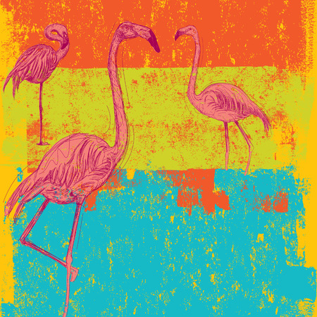 Pink Flamingo background Ilustrace