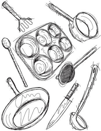 masher: Cooking utensil sketches Illustration