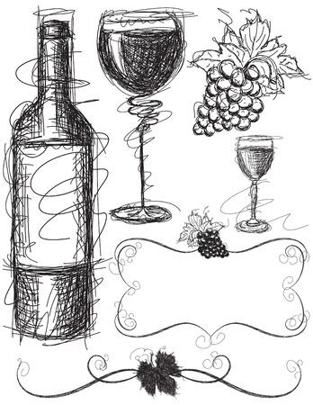 bottle wine: Wine Sketches Illustration