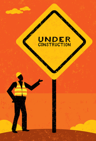 under construction sign with man: Under Construction