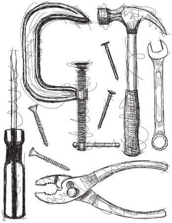 vise: Construction tool sketches Illustration