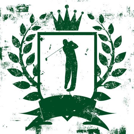 golfer swinging: Golf Shield Insignia