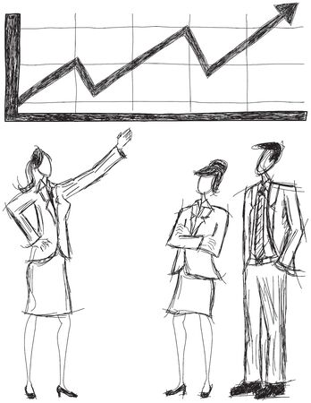 business trending: Business people looking at an upward trending revenue chart Illustration