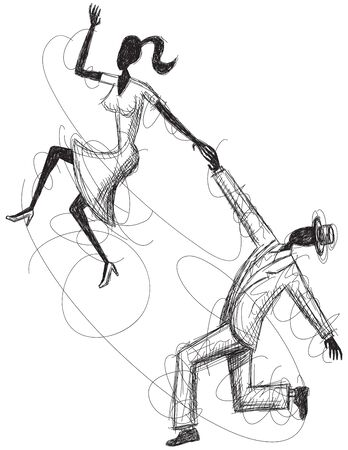 computer dancing: Swing Couple Sketch Illustration