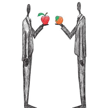 apples and oranges: Comparing Apples and Oranges Illustration