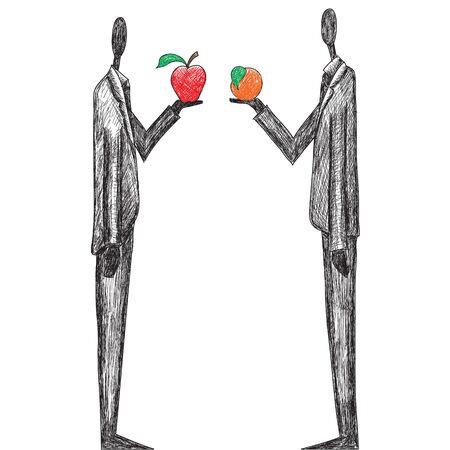 comparing: Comparing Apples and Oranges Illustration