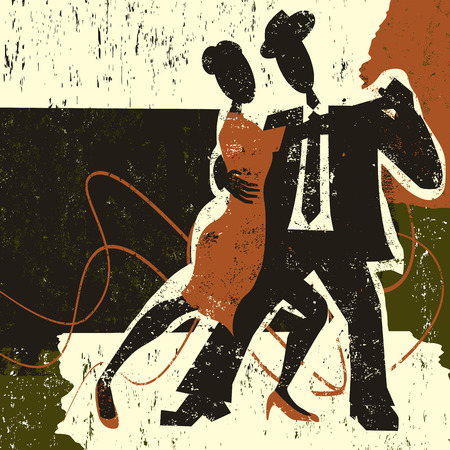performing arts: Two tango dancers Illustration