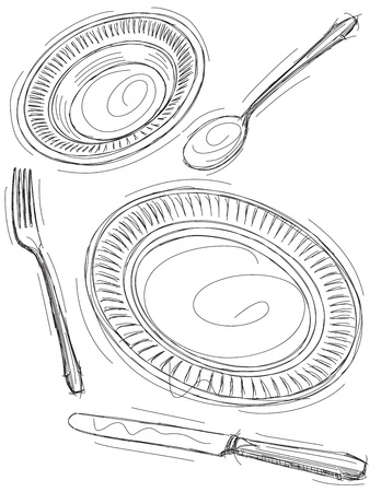 place setting: Sketchy Place Setting Illustration