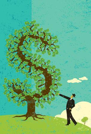金のなる木を持ったビジネスマン