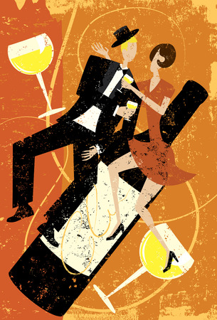 dating and romance: People drinking wine Illustration