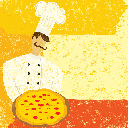 cartoon dinner: Pizza Chef Illustration